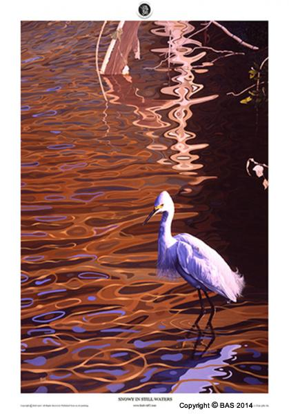 Canvas Print,bird art,bird painting,egret,oil painting,Limited Edition,Art of BAS