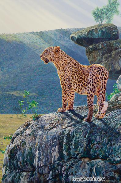 wildlife art,wildlife art paintings,bas,art of bas,oil painting,Leopard Painting,Masai Mara Kenya,karen blixen,Monarch