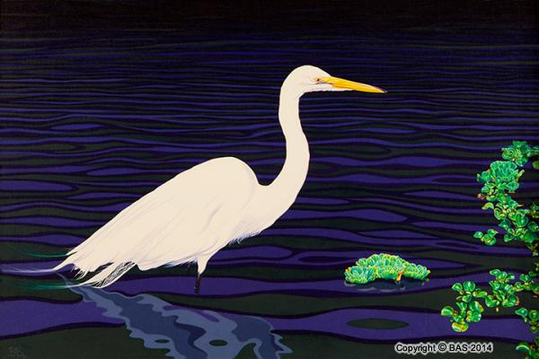 wildlife art,wildlife art paintings,oil painting,bas,art of bas,bird painting,Egret Painting,oil painting on canvas,Regal Elegance