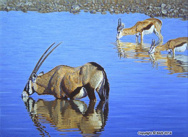wildlife art,wildlife art paintings,Oil Painting,bas,art of bas,oil painting on canvas,Gemsbok Oryx from Etosha Namibia,corporate collection