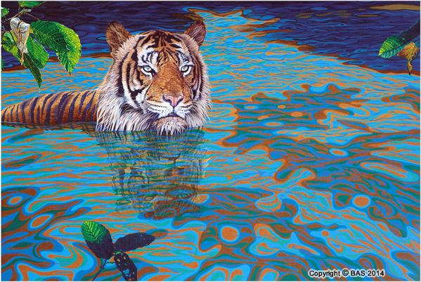 canvas prints,art print,tiger print,Tiger Painting by wildlife artist BAS,Fine Art Print on Canvas,Best of Wildlife Art